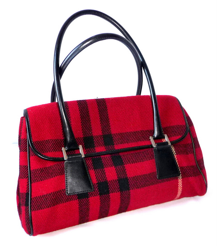 burberry tartan rot damentasche handtasche hand bag red leder tragetasche tasche ebay. Black Bedroom Furniture Sets. Home Design Ideas