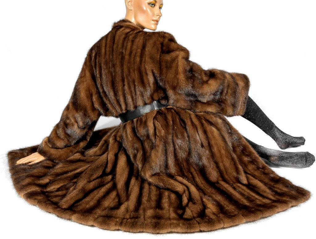 a9fedabb7 L - XL Wonderful hazel brown mink fur coat mantle Visone Soft new ...