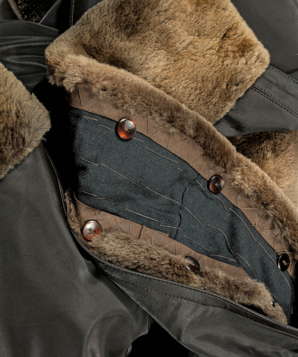 l xl braun jacke mit pelzfutter bisam pelzjacke pelz muskrat fur lined jacket ebay. Black Bedroom Furniture Sets. Home Design Ideas